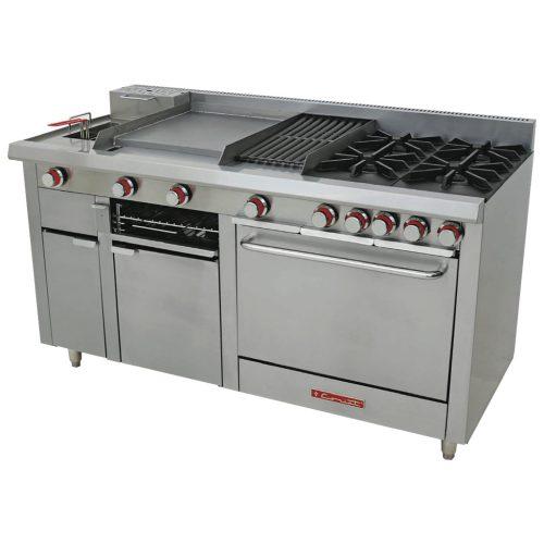 Estufa multi freidora plancha asador4 quemadores gratinadora salamandra horno