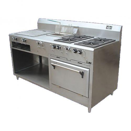 Estufa comercial a gs 4 quemadores freidora asador gratinadora horno