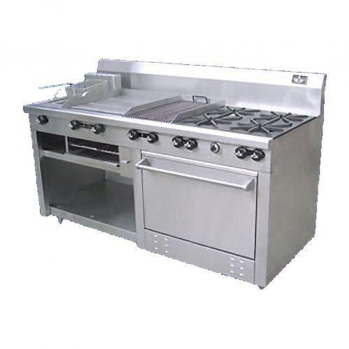 Estufa comercial 4 qumadores plancha asador freidora gratinadora horno