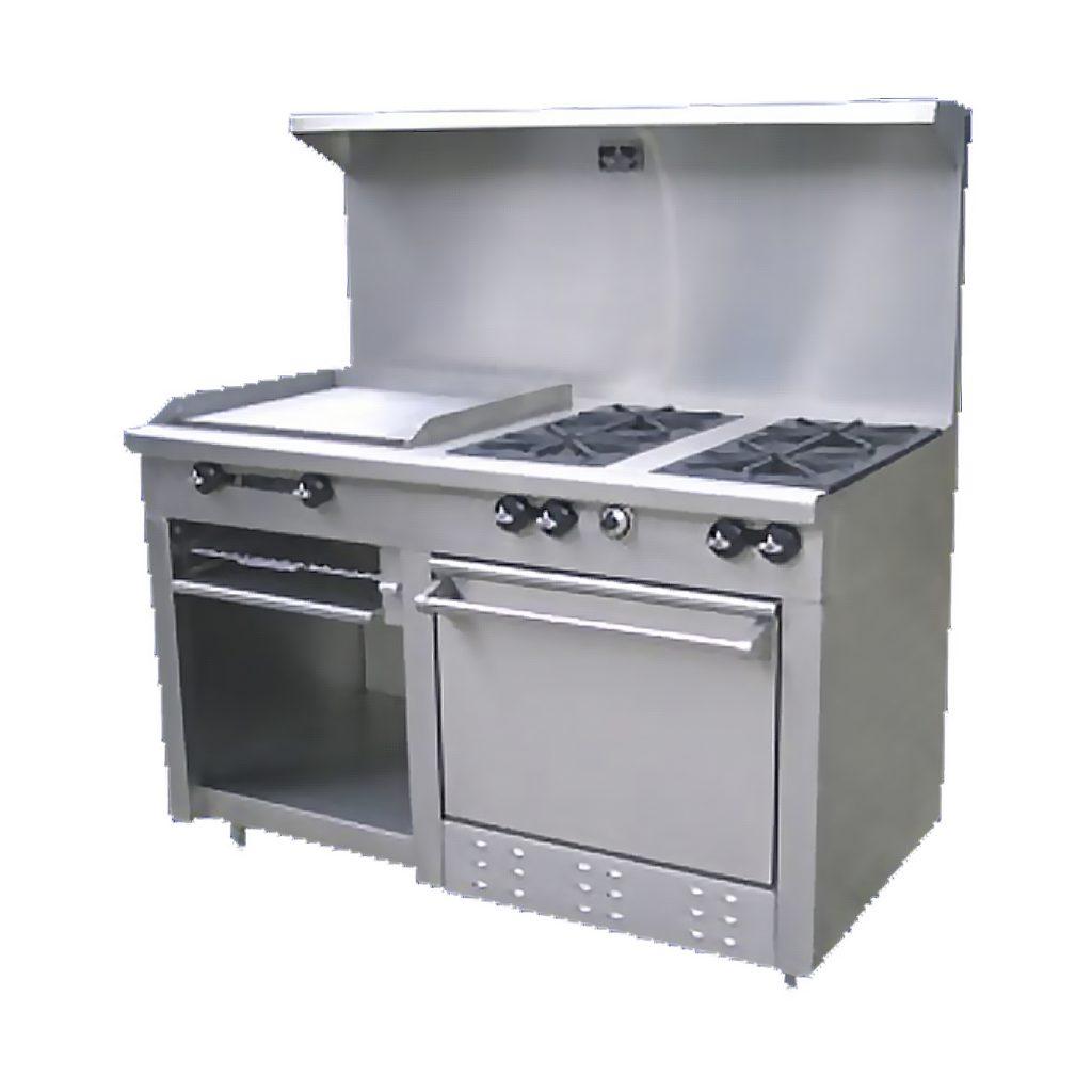 Estufa comercialrye 4 quemadores plancha gratinadora salamandra horno