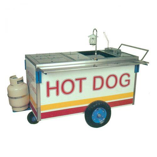Carro para hot-dogs y hamburguesas con freidora. ETM.