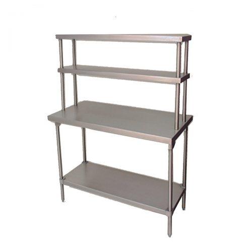 mesa de trabajo tipo isla con doble repisa superior acero inoxidable