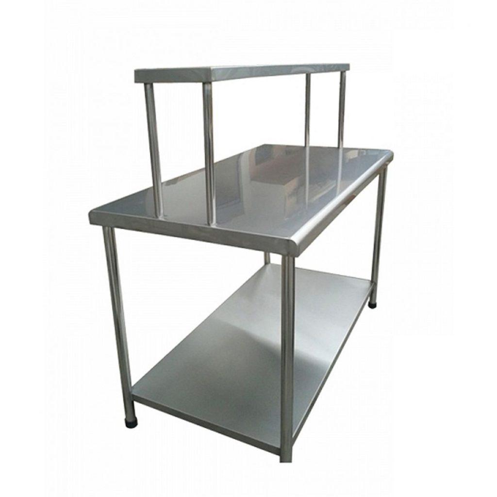 Mesa de trabajo tipo isla con repisa superior acero for Mesa de trabajo jardineria