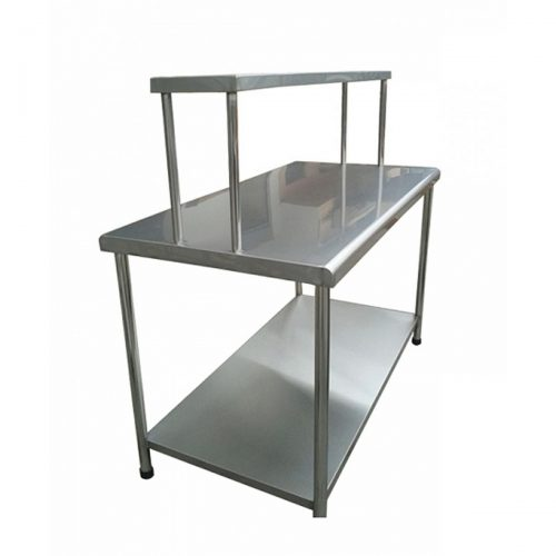 mesa de trabajo tipo isla con repisa superior. acero inoxidable