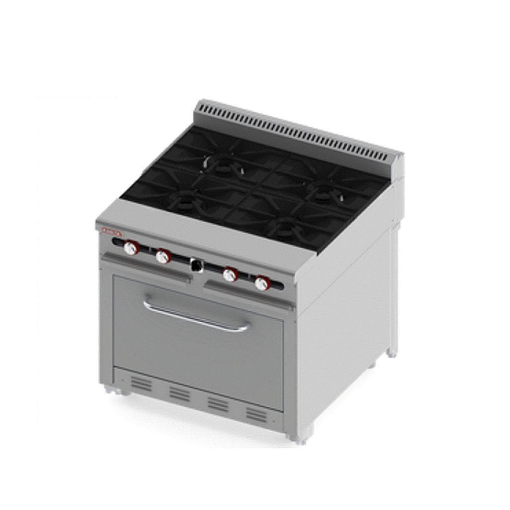 Estufa pesada uso rudo 4 quemadores horno