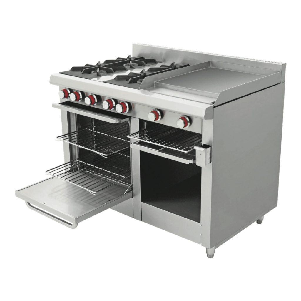 Estufa industrial 4 quemadores plancha gratinadora y horno